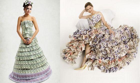 платья из денег