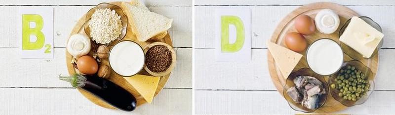 Где содержатся витамины B2, D